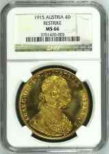 Austria 1915 Gold Coin 4 Ducat Kaiser Franz Joseph I Graded by NGC MS66