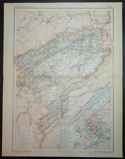 1891 antique print couleur carte du doubs besançon france français carte