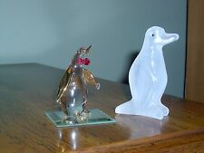 VINTAGE - LOT OF 2 PENGUIN FIGURINES-FROSTED GLASS & CRYSTAL? OR GLASS ON MIRROR