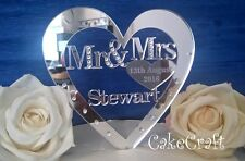 Mirrored Acrylic Personalised Wedding cake topper decorations SWAROVSKI CRYSTALS