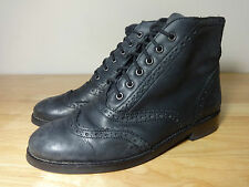 "Womens size 4 black ankle boots ""Office London"" leather brogue boots ladies UK 4"