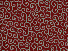 Furoshiki Japanese Fabric Red 'Karakusa' Vines Motif Cotton 52cm