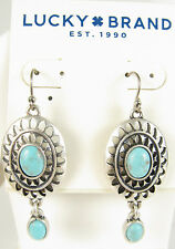 Lucky Brand Silver-Tone Decorative Blue Stone Drop Earrings