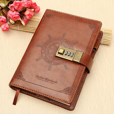 Vintage Brown Leather B6 Journal Wired Diary Note Book with Password Code Lock