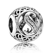 New Authentic Pandora Charm 791863CZ Vintage Letter S Clear CZ Box Included