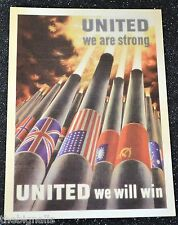 WWII Poster UNITED WE ARE STRONG  Postcard