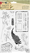 Papermania clear stamps Nature's Gallery Flowers leaves post Card Bird Butterfly