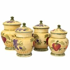 Tuscan Deluxe Hand-Painted 4pc Kitchen Canister Set Cookie Jar