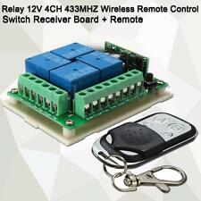 10A Relay 12V 4-CH 433MHZ Wireless Remote Control Switch Receiver Board w/Remote