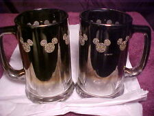 Collectible PAIR Silver Mickey Mouse/Disney (Set of 2) Beer/Coffee Mugs/Glasses