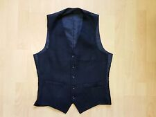 B609 MENS VINTAGE NAVY BLUE GREY 2 POCKET FINE PINSTRIPED SUIT WAISTCOAT S 36