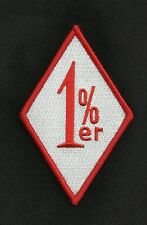 1%ER MC OUTLAW ONE PERCENTER MOTORCYCLE BIKER PATCH - RED & WHITE