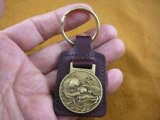 (MD-43-A) California Sea Otter BRONZE Medallion LEATHER KEY RING otters Burgundy