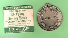 #D85. 1991 SYDNEY CITY TO SURF RUN  29mm MEDAL & NEWSPAPER VOUCHER