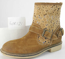 Ladie's Wrangler WR121 Brown Leather suede fashionable ankle boots UK 4 EU 37