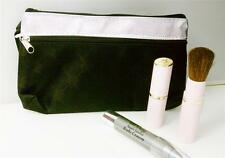 COSMETIC MAKEUP POUCH BAG SILVER AND BLACK  PRINT WITH 2 ZIPPERS