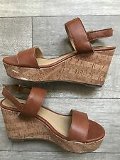 Forever 21 Wedges Size 7.5 Brown Faux Leather 3.5 Inch Heel Cork Wedge