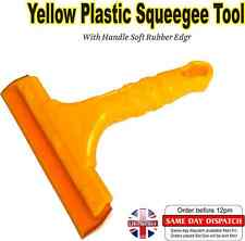 Yellow Plastic Squeegee Tool with Handle Soft Rubber Edge for Car Wrapping Vinyl