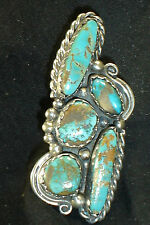5-STONE NAVAJO STERLING SILVER TURQUOISE RING SZ-8 NATIVE AMERICAN DEAD PAWN