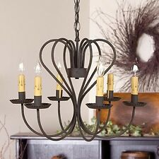 Large Georgetown 6-arm Chandelier in Black | Country Primitive Ceiling Lighting