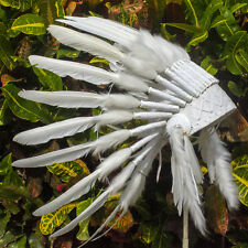 Kids Indian Headdress - Native American Chief - Real Duck Feathers - All White