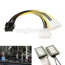 5 Inch 8 Pin PCI Express Male To Dual LP4 4Pin Molex IDE Power Cable Adapter USA