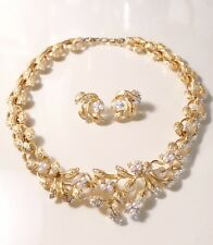 Rare Vintage Christian Dior Gold Plated Leaf White Pearl Necklace Earrings Set