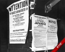 AIR RAID & JAPANESE INTERNMENT WWII PROPAGANDA POSTER PHOTO ON CANVAS ART PRINT