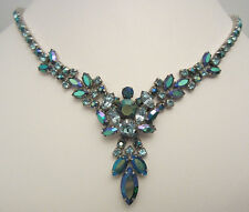 "Rare Vintage 18""x2"" Signed Sherman Silver Tone Blue AB Rhinestone Necklace A36"
