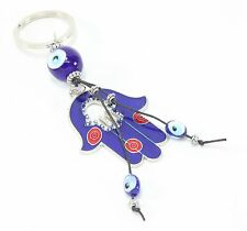 "Blue Evil Eye 2"" Hamsa Hand Keychain Blessing Protection Religious Charm Gift"