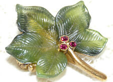 Pretty JOAN RIVERS Gold Tone Green Lucite Pink Crystal Ivy Leaf Brooch/Pin  O12*