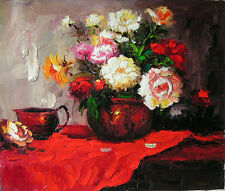 Beautiful Oil painting nice still life flowers peony in pottery pot canvas