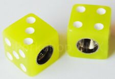 Porkchop bicycle tire tyre tube Schrader valve DICE caps (PAIR) GLOW IN THE DARK