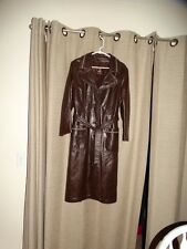 vintage 24 K by DAN DI MODES Leather TRENCH COAT brown womens small med BELTED