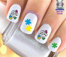 "RTG Set#651 SYMBOL ""Autism Puzzle Love Heart"" WaterSlide Decals Nail Transfers"