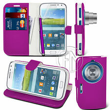 PURPLE WALLET LEATHER CASE FOR SAMSUNG S5 K ZOOM + FREE SCREEN GUARD & STYLUS