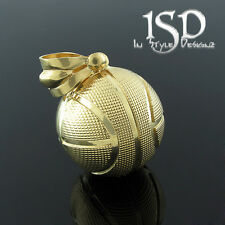 "10k Yellow Gold Heavy 3D Round Basketball Sports Ball Pendant Charm 1"" Diameter"