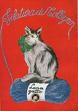 PUBBLICITA' LANA GATTO FILATURA DI TOLLEGNO FILO GOMITOLO FIOCCO 1936