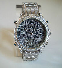 SILVER FINISH 3D BLING STAR LARGE BRACELET HIP HOP  FASHION WATCH
