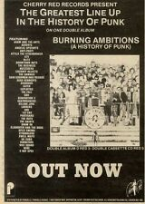 """27/11/82PGN46 ADVERT 7X5"""" BURNING AMBITIONS : A HISTORY OF PUNK DOUBLE ALBUM"""