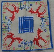 Child's  Red Pony Blue  Hitchpost and Blue Edge  Handkerchief