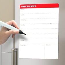 WEEK PLANNER Magnetic FRIDGE BOARD Shopping MEAL A3 Drywipe Large WHITEBOARD Pen