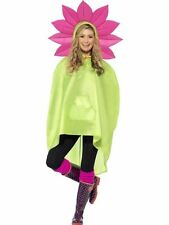 Ladies Teens Flower Poncho Showerproof Festival Concert Hen Party Costume Fun