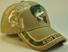 WHOLESALE NEW! KISS MY BASS FISHING TAN CAP HAT