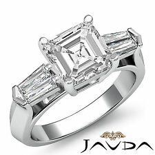3 Stone Flashy Asscher Cut Diamond Engagement Ring GIA G SI1 Platinum 950 1.5 ct
