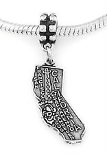 STERLING SILVER DANGLING STATE OF CALIFORNIA EUROPEAN BEAD