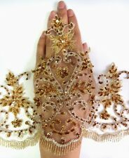 "7.5"" Metallic Gold Sequins Beads Crystal Embro Fringe Scallop Lace Trim -T1090"