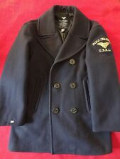 Vintage Ralph Lauren Polo Jeans Navy Wool-Blend Men's PeaCoat with Patch  -  S