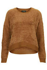 Topshop brown camel fluffy long sleeve faux fur  sweater jumper uk size 12