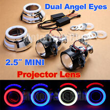 "2015 New 2.5"" HID Projector Lens Kit Car Headlights LED Dual Angel Eyes Halo"
